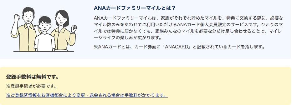 ANAカードファミリーマイルの説明画像